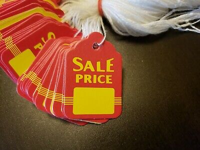 100 Sale Price Red Yellow Tags With String Merchandise Garment Hang Coupon