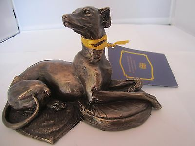 Whippet dog figure laying model cold cast bronze by Harriet Glen new