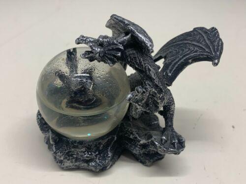"""Dragon & Mini Dragon Snow Globe w/Castle D & D 3"""" Statue Mythic Fantasy Gothic"""