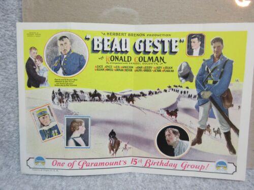1926 BEAU GESTE Paramount & Samuel Goldwyn MOVIE Original PROMO Ronald Coleman
