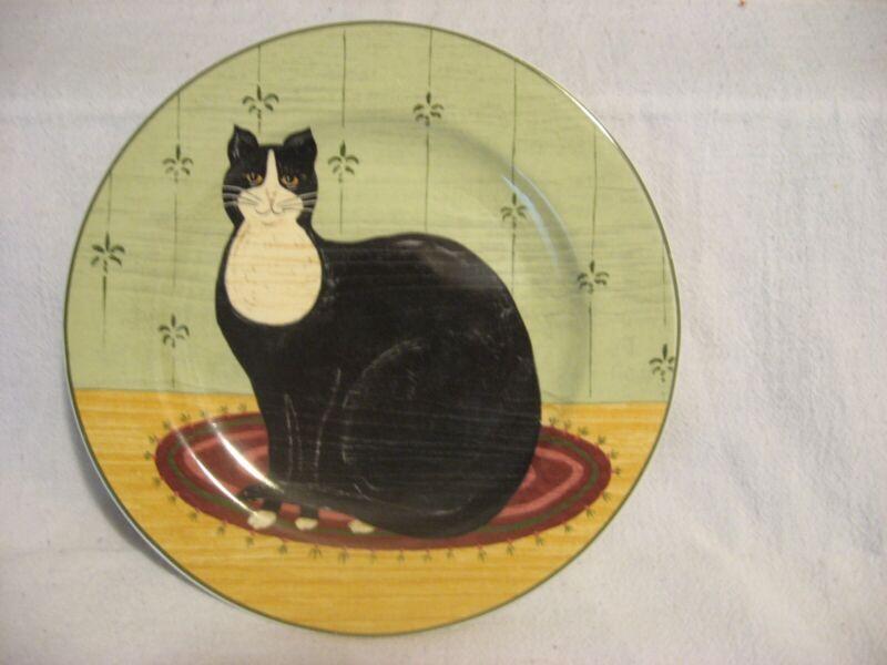 """Sakura black & white tuxedo cat 8"""" salad plate Warren Kimble 2000"""