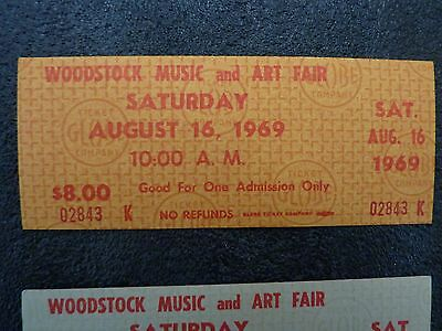 10 Original Woodstock Tickets 1969 mostly in Sequence (Gold) MINT and Genuine