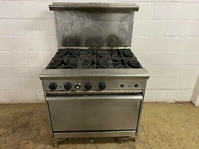 6 Burner Stove With Oven On Legs Natural Gas Unreadable Tag Tested