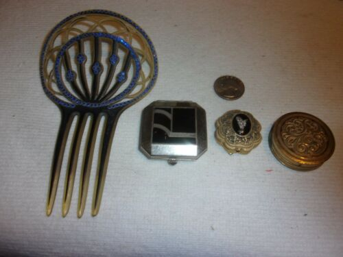 3 vintage Compacts and antique Comb