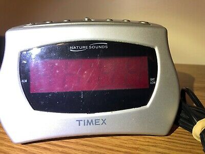 Working Timex Alarm Clock Grey Model T131S With Nature Sounds & Snooze/Sleep
