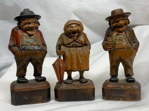 Carved Wood Figures Wurzburg Germany Black Forest Folk Art Set of 3 Men Woman