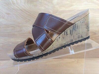 Dr. Scholls Brennan Womens Brown Sandals With A Cork Wedge Heel Size 6