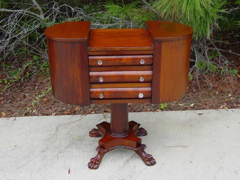 Rare Empire Period Mahogany Double Towered Sewing Table ~Ca.1840