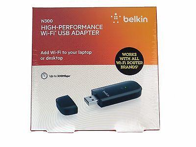 NEW Belkin N300 High Performance Wireless Wi-Fi USB Adapter Dongle F9L1002 (Belkin Wireless N+ Usb)