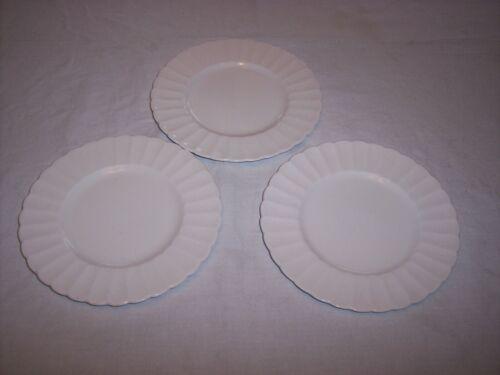 Lot of 3 Susie Cooper England White Flute Bone China Bread Plates