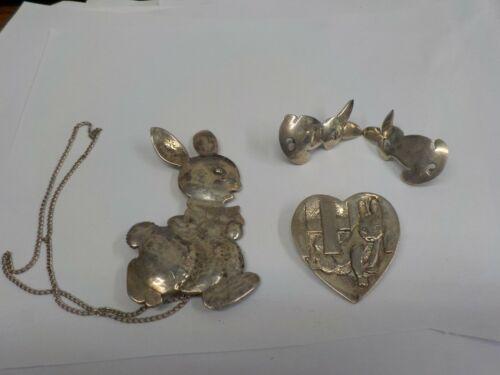 handmade large sterling rabbit pin & earrings set & H&H ss rabbit in heart pin