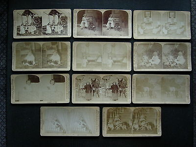 54 original alte Stereofotos Stereoviews: Kinder, Amerika, Europa, China u. a.