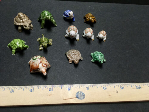 """Lot of 12 Ceramic Turtles Tortoises One Wade One Hand Painted 1"""" - 2 1/4"""""""