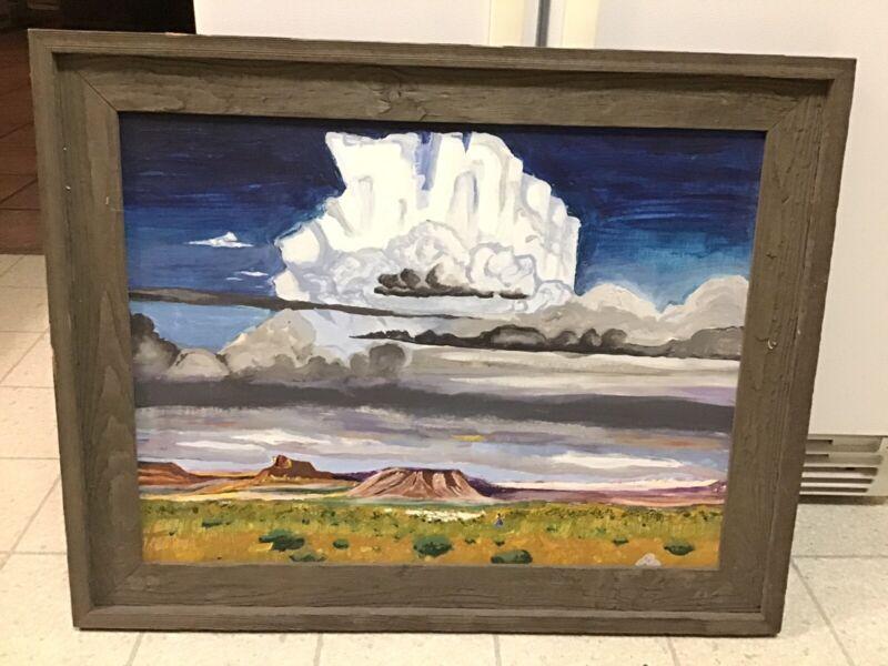 Signed Native American Navajo Indian Landscape Painting Raincloud C Delano Copy?