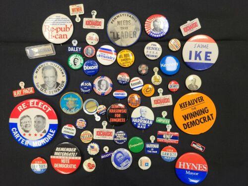 Vintage Political Campaign Election Pinback Button Lot of 60 - MB322