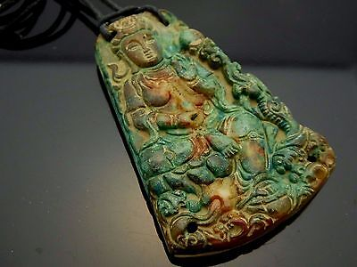 Vintage Carved Jade Quan Yin Kwan Yin Goddess of Compassion Pendant Cord