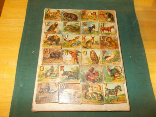 LATE 1800S EARLY 1900S VICTORIAN ALPHABET BLOCKS WITH ANIMALS ON ONE SIDE LETTER