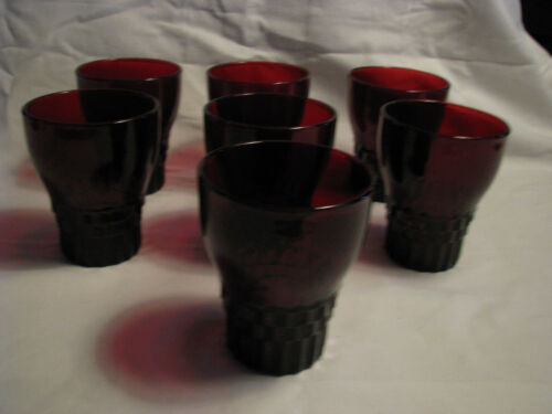 Vintage Set of 7 Red Ruby Glass 8 Ounce Drinking Glasses
