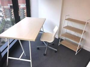 IKEA LINNMON table and SNILLE swivel chair   SCANDI ladder booksh
