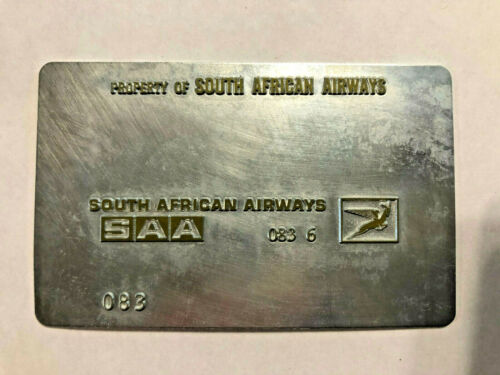 South African Airways Airline Ticket Validation Plate Vintage