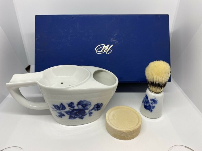 Victorian White / Blue Mohawk Royal Bavaria Shaving Mug w Matching Brush