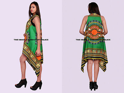 Africano Dashiki Estampado Cárdigan Kimono Largo Camisa sin Mangas Algodón Blusa