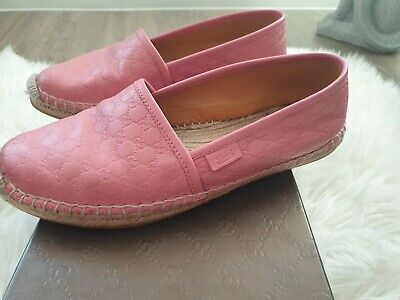 Gucci pink Leather Espadrilles With Original Shoe Box