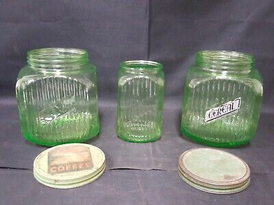 3 Vintage Hocking Green Vaseline Ribbed Depression Glass Jars 2 128oz & 1 40oz