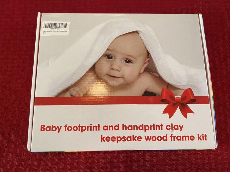 NEW BABY FOOTPRINT & HANDPRINT CLAY KEEPSAKE WOOD FRAME KIT!