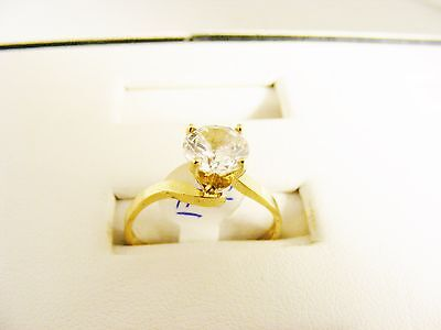 Engagement Ring solid 14K gold, swirled band with clear faceted 1 ct. cz 1ct Cz Engagement Ring