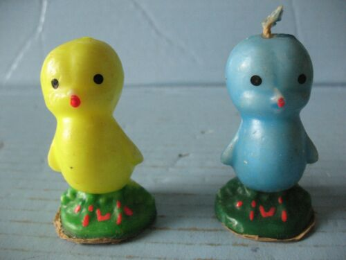 2 Cute Vintage Gurley Easter Candles Bluebird & Yellow Duckling