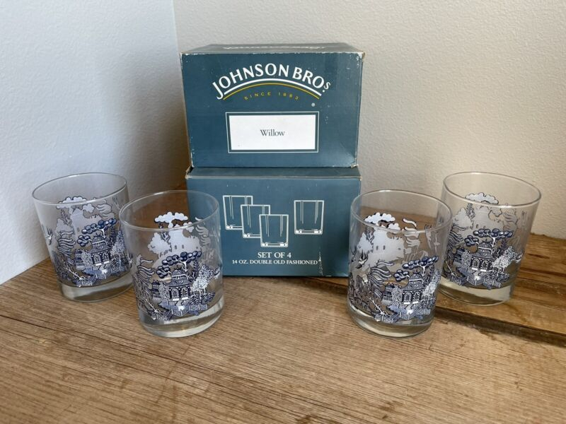 Blue Willow Double Old Fashioned Glasses Set Of 4 Johnson Brothers 14oz