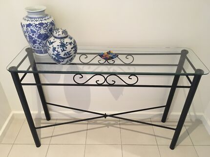 Black Wrought Iron/metal And Glass Console/Hall Table