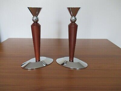 VINTAGE RETRO PAIR OF TALL WOODEN AND CHROME CANDLESTICKS CANDLE HOLDERS