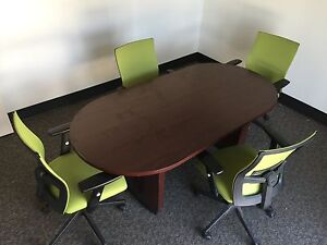 Solid wood board room table with chairs