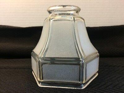 "Antique Frosted Glass Pendant Light Shade Desk Lamp 2 1/4"" Fitter Bell Hexagon"