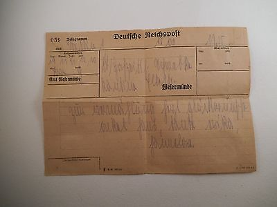 Vintage Deutiche Reichspost Telegramm Germany Telegram Paper