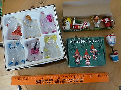 vintage wooden Christmas ornaments Merry mouse trio santa angel  basketball +