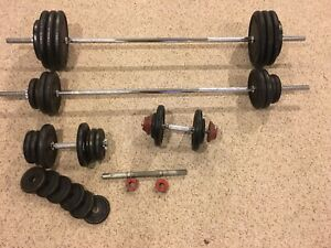 315lbs of weights with dumbbells and barbells