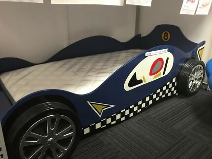 NEW 'GRAND PRIX' SINGLE BED CAR BED – RED or BLUE