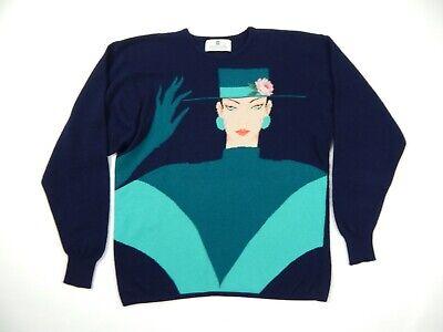 Vintage Ballantyne 100% Cashmere Intarsia Sweater sz 40 M/L Scotland