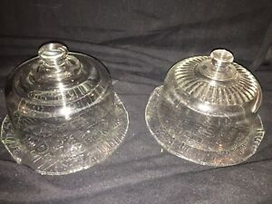 TWO GLASS CHEESE DISHES