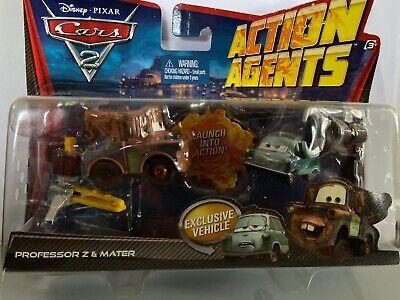 2010 Disney Pixar Cars 2 Action Agents Professor Z And Mater Launcher Cars NIB