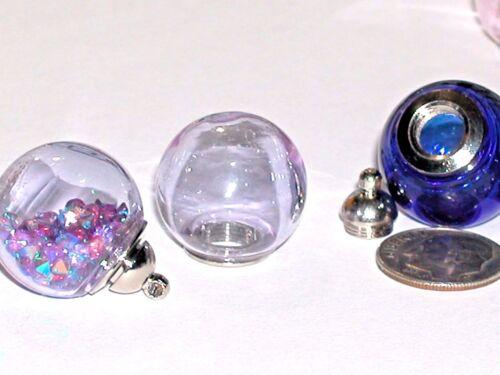 Wide Mouth Glass Crystal Ball Bottle fairy Locket vial Screw top Globe Orb Purpl