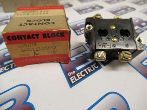 Cutler Hammer 10250T58, Early Closing Contact Block, 2 N.O.- NEW-B
