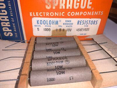1000 Ohm 10 Watt Sprague Koolohm Resistors Power Wire Wound Pack Of 5 Brand New