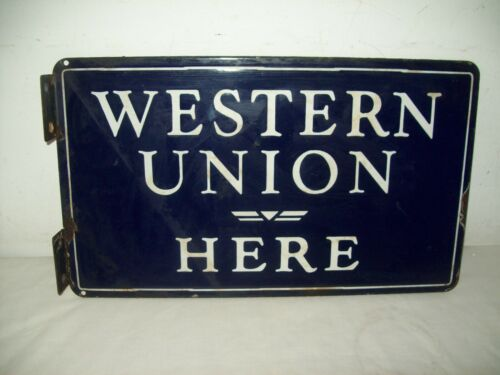 "Antique Western union here  2 sided porcelain flange sign   17"" by  10"""