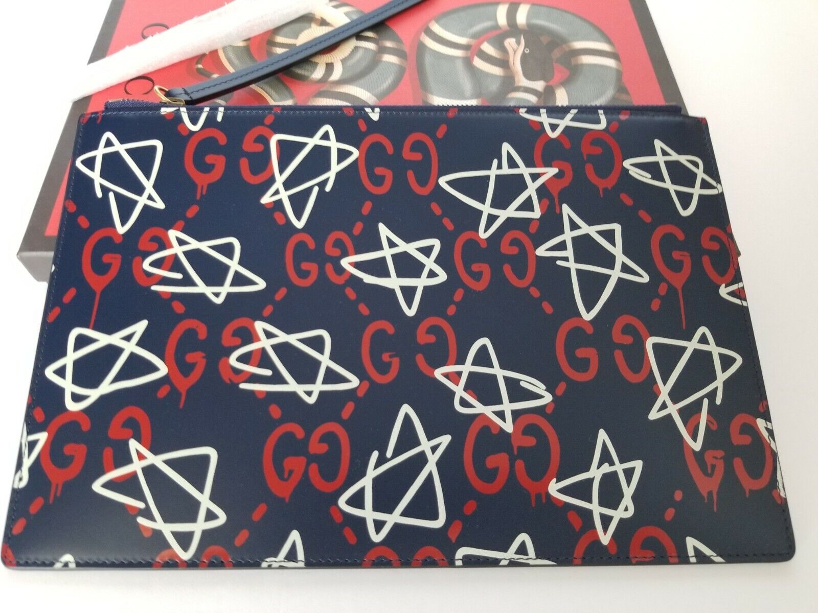 New Authentic Gucci Ghost Print Pouch Clutch Bag Blue Red White wBox