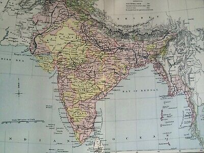 India Original Antique Encyclopaedia Britannica Map Vintage Old Colonial Map