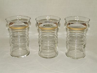 3 Anchor Hocking 9 Ounce Water Flat Tumbler Ring Design with Gold Bands 9 Ounce Water Tumbler